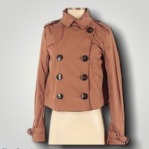 H&M Brown Cropped Leopard Lined Utility Jacket